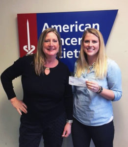 Lisa Brand presents American Cancer Society with check on behalf of PNwRC.
