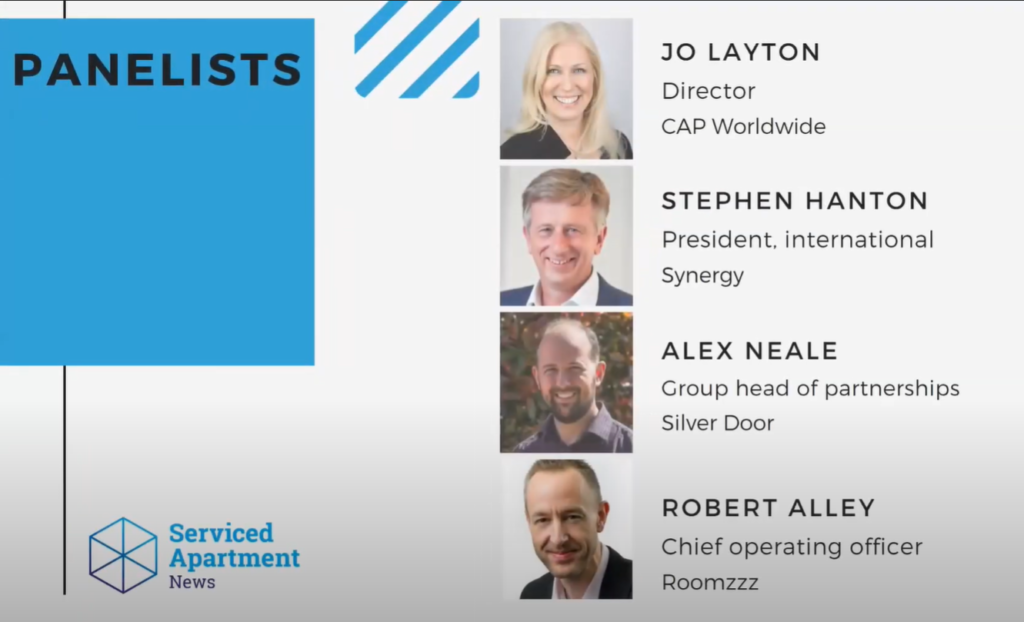 Graphic depicting the panelists from from a Serviced Apartment News (SAN) webinar titled The Connectors: Serviced Apartment and Corporate Housing Agents.
